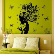 Butterfly Flower Fairy Girl Removable PVC Wall Sticker Home Decor Decals
