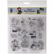 Hot Off The Press Janie's Furry Friends Acrylic Stamp Sheet, 20cm by 20cm