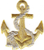 NAUTICAL, GOLD ANCHOR w/SILVER ROPE- Iron On Embroidered Applique/Boats,Sailing