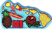 """""""HI""""- HAWAII STATE SHAPE- Iron On Patch/Tropical, Pineapple, Hibiscus, Surfing"""
