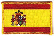 SPAIN FLAG, Spanish National Flag w/Gold Border/Iron On Patch Applique/Espana