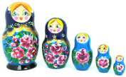 Unique Authentic Russian Hand Painted Handmade Floral Red Black Nesting Dolls Set of 5 Pcs Matryoshkas