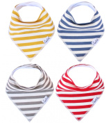 Baby Bandana Drool Bibs Alpine Set 4 Pack of Unisex Modern Cotton Bibs Baby Gift Set By Copper Pearl