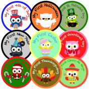 Baby's First Holiday Belly Milestone Stickers, High Quality 10cm Individual Pre-cut Vinyl Sticker, 14pc Owl-themed