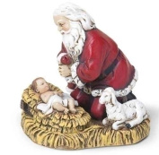 6.4cm Kneeling Santa Christmas Ornament with Baby Jesus