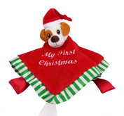 Baby's First Christmas Security Blanket Blankie Buddy Winkiepops LIMITED EDITION with Gift Bag Soft Cuddle Bud,Plush Toy with Puppy Head Unisex Super Cuddly Plush & Satin Red Lovey for Babies & Toddlers.