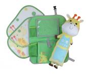 Back Seat Organiser Car Kick Mat - Seat Belt Pillow - Cling Sun Shade Giraffe Set