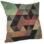 Vanki abstract style Cotton Linen Square Decorative Throw Pillow Case Cushion Cover 46cm x 46cm ,colourful triangle pattern