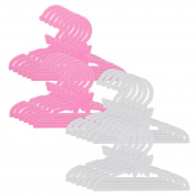 Doll Clothes Hangers for 46cm American Girl Dolls - Set of 24 Pink and White Butterfly Hangers
