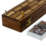 Game Cribbage boards Set, 2 Decks of Cards, 6 Metal Pegs With Storage