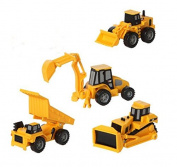 CAT Mini Machine Caterpillar Construction Toy Truck Mini Machine Set of 4, Dump Truck, Bulldozer, Wheel Loader and Excavator Free-Wheeling Vehicle Sand Box Toy Children Cake Toppers Party Favours