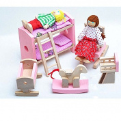 SwirlColor Childrens Wooden Furniture Bedroom Pretend Play Toy 5pcs/set