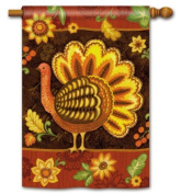 Folk Turkey Thanksgiving House Flag