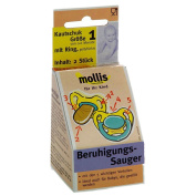 Mollis rubber Soother Sz. 1 with Ring 2 Pcs