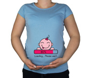 Maternity Pregnancy size 10 - 20 Cotton Baby Loading Girl Print Top Tunic T-Shirt