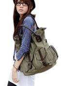 MOLLYGAN Girl's Retro Canvas Military Shoulder Bag Top Handle Bag