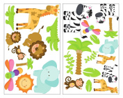 25 piece Safari Animals Giraffe Lion Wall Sticker Wall Tattoo Set for Children's Bedroom