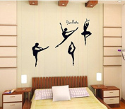 Ballet Dancing Wall Decal Home Sticker House Decoration WallPaper Removable Living Dinning Room Bedroom Kitchen Art Picture Murals DIY Stick Girls Boys kids Nursery Baby Playroom Decoration