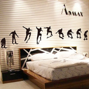 Playing Skateboard Wall Decal Home Sticker House Decoration WallPaper Removable Living Dinning Room Bedroom Kitchen Art Picture Murals DIY Stick Girls Boys kids Nursery Baby Playroom Decoration