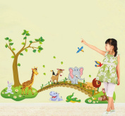Lovely Animals Tree Bridge Wall Decal Home Sticker House Decoration WallPaper Removable Living Dinning Room Bedroom Kitchen Art Picture Murals DIY Stick Girls Boys kids Nursery Baby Playroom Decoration
