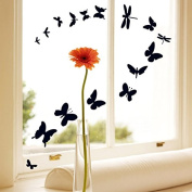 Black Butterflies Wall Decal Home Sticker House Decoration WallPaper Removable Living Dinning Room Bedroom Kitchen Art Picture Murals DIY Stick Girls Boys kids Nursery Baby Playroom Decoration