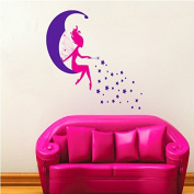 The Moon Fairy Stars Wall Decal Home Sticker House Decoration WallPaper Removable Living Dinning Room Bedroom Kitchen Art Picture Murals DIY Stick Girls Boys kids Nursery Baby Playroom Decoration