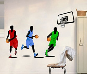 Playing Basketball Wall Decal Home Sticker House Decoration WallPaper Removable Living Dinning Room Bedroom Kitchen Art Picture Murals DIY Stick Girls Boys kids Nursery Baby Playroom Decoration