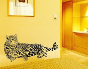 Black Sketch Style Animal Leopards Wall Decal Home Sticker House Decoration WallPaper Removable Living Dinning Room Bedroom Kitchen Art Picture Murals DIY Stick Girls Boys kids Nursery Baby Playroom Decoration