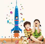 Blue Rocket Wall Decal Home Sticker House Decoration WallPaper Removable Living Dinning Room Bedroom Kitchen Art Picture Murals DIY Stick Girls Boys kids Nursery Baby Playroom Decoration