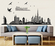 Black City Scenery Buildings Birds Wall Decal Home Sticker Paper Removable Living Dinning Room Bedroom Kitchen Art Picture Murals DIY Stick Girls Boys kids Nursery Baby Playroom Decoration