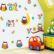 Lovely Owls Butterflies Branch Wall Decal Home Sticker Paper Removable Living Dinning Room Bedroom Kitchen Art Picture Murals DIY Stick Girls Boys kids Nursery Baby Playroom Decoration