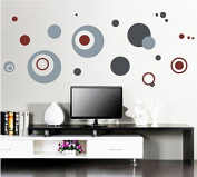 Stylish Grey Round Circles Wall Decal Home Sticker Paper Removable Living Dinning Room Bedroom Kitchen Art Picture Murals DIY Stick Girls Boys kids Nursery Baby Playroom Decoration