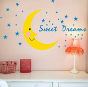 The Moon and Stars Wall Decal Home Sticker Paper Removable Living Dinning Room Bedroom Kitchen Art Picture Murals DIY Stick Girls Boys kids Nursery Baby Playroom Decoration