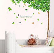 Green Leaves Tree Butterflies Wall Decal Home Sticker Paper Removable Living Dinning Room Bedroom Kitchen Art Picture Murals DIY Stick Girls Boys kids Nursery Baby Playroom Decoration