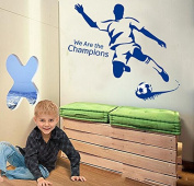 """We Are the Champions"" Football Wall Decal Home Sticker Paper Removable Living Dinning Room Bedroom Kitchen Art Picture Murals DIY Stick Girls Boys kids Nursery Baby Playroom Decoration"