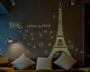Flowers Eiffel Tower Shape Night Lighting Wall Decal Home Sticker Paper Removable Living Dinning Room Bedroom Kitchen Art Picture Murals DIY Stick Girls Boys kids Nursery Baby Playroom Decoration