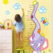 Elephant Bee Sun Height Measurement Wall Decal Home Sticker Paper Removable Living Dinning Room Bedroom Kitchen Art Picture Murals DIY Stick Girls Boys kids Nursery Baby Playroom Decoration