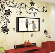 Black Flowers Leaves Vines Butterflies Wall Decal Home Sticker Paper Removable Living Dinning Room Bedroom Kitchen Art Picture Murals DIY Stick Girls Boys kids Nursery Baby Playroom Decoration