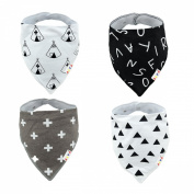Alva Baby Stylish Unisex Baby Bandana Drool Bibs for Boys and Girls 4 Pack of Super Absorbent Baby Gift Settings SK06-EU
