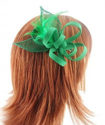 Emerald Green Crepe Looped Flower Hair Fascinator with Sinamay Leaves and Feathers on Sprung Clip by For Him For Her