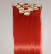Mybeantore 24'' (60cm) Straight Clip In Synthetic Hair Extensions 120g 7pcs/set Heat Resistent RED colour Like A Real Human Hair Hairpiece