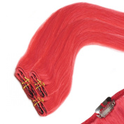 Clip In Hair | Human Hair Extensions | Full Head | 46cm RED