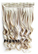Mybeantore 20'' (50cm) Curly Clip In Synthetic Hair Extensions 100g one peice Heat Resistent like human hair F12/613 Colour