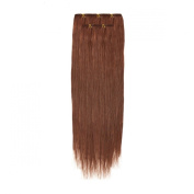 Clip In Hair | Human Hair Extensions | Full Head | 46cm Auburn Fire