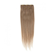 Clip In Hair   Human Hair Extensions   Full Head   46cm Mousey Brown