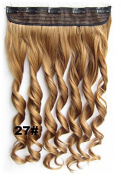 """Mybeanstore 24"""" 60cm 5-clip Synthetic Hair Extension Clip in (Straight)Strawberry Blonde 27 Colour Heat Resistant 3/4 Full Head Salon real high quality Sliky"""