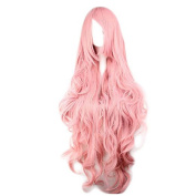 Etruke Long Vocaloid Curly Anime Women Hair Pink Cosplay Wigs