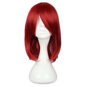 Etruke Women Dance Hair Medium Long Hair Red Party Cosplay Wigs