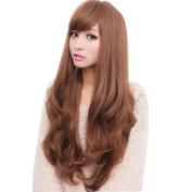 Etruke Lolita Women Long Brown Curly Wavy Wigs Party Hair Cosplay Wigs