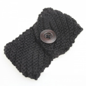 TININNA Women 's Winter Crochet Knitted Headband Hairband Ear Warmer Headwrap with Wood Button Black